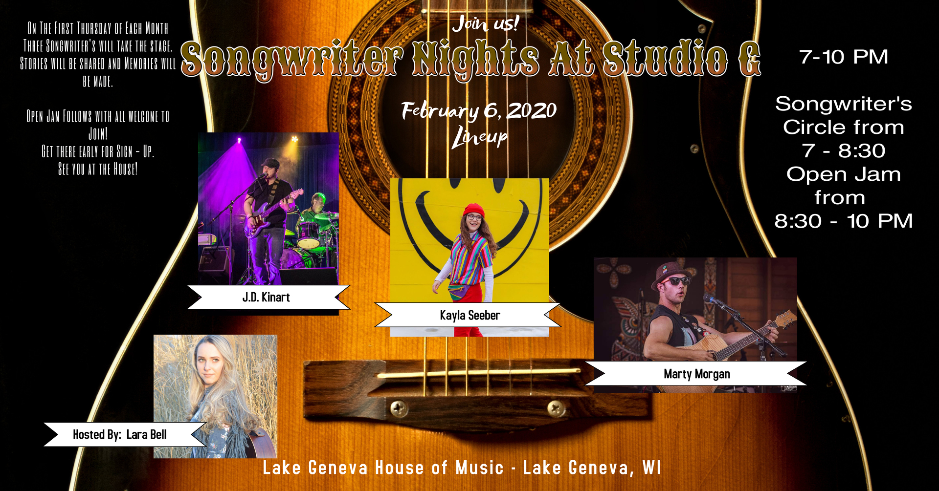 February 2020 Songwriter Night at Studio