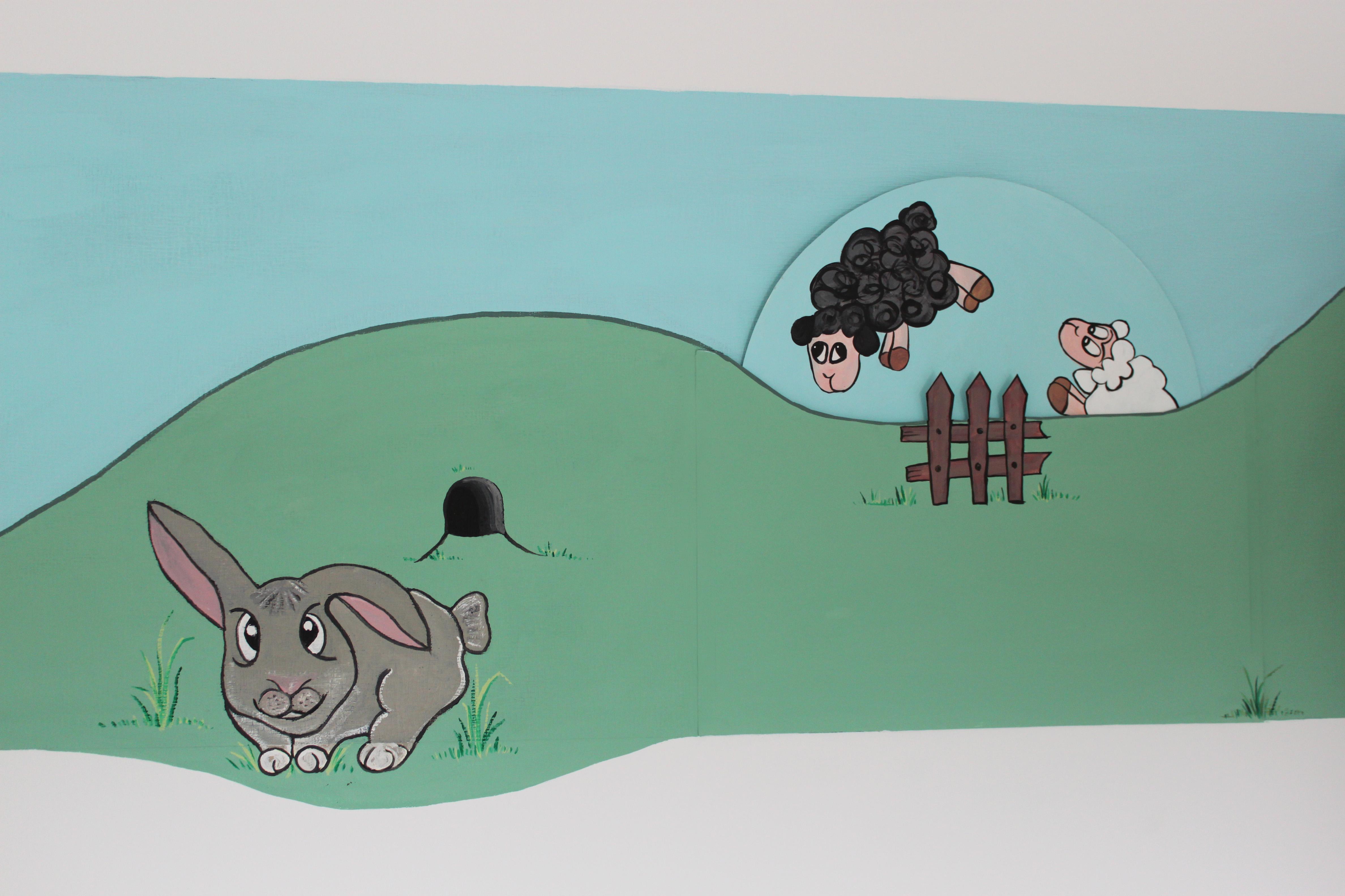 de schaapjes springen over het hek