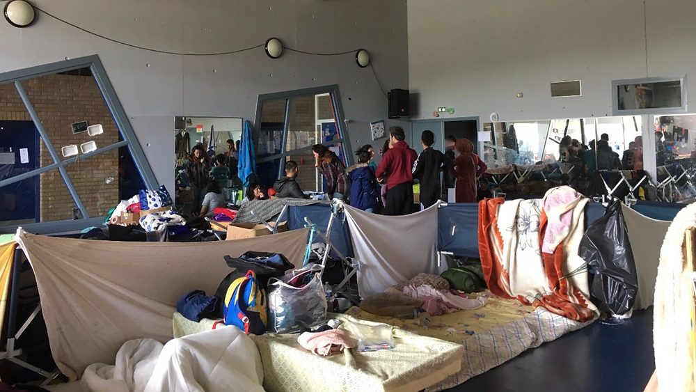 A local gymnasium in Grande- Synthe opened as a shelter following a snow storm last December, and at times housed around 400 refugees. This room was designated to families. One week following Mawdas death all refugees were evicted from the Gymnasium ( 24/05/18).
