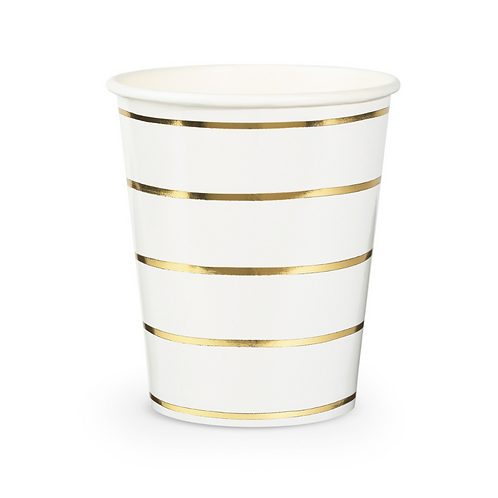 Gold Frenchie Striped Cups