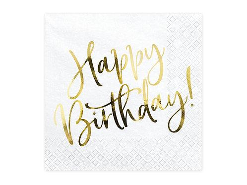 Gold & White Happy Birthday | Party Napkins