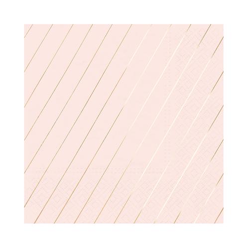 Paper Napkins Stripes - Blush & Rose Gold