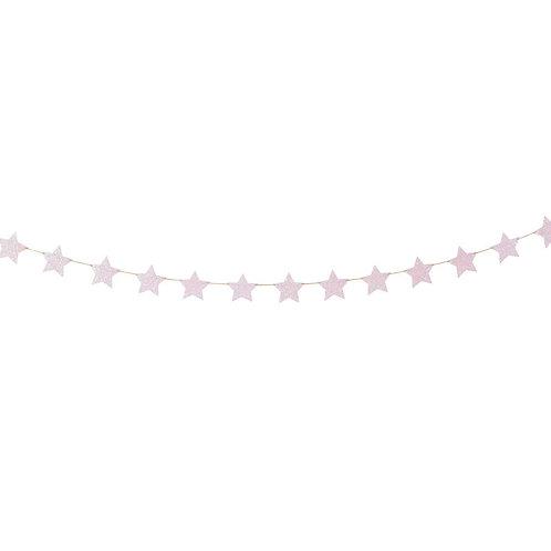 Pink Star Banner - Light Pink Sparkles