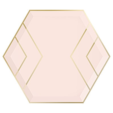 Blush and Gold Hexagon Paper Plates.png