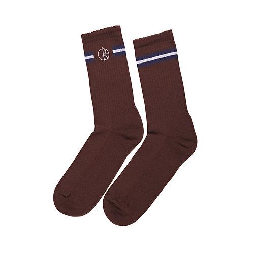 Polar Socks Stroke Logo Brown