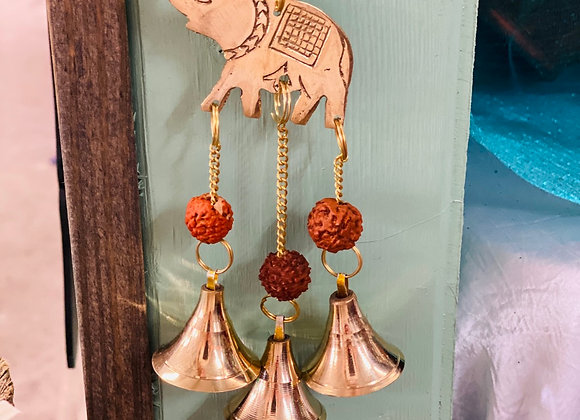 ELEPHANT BELL CHIME. Brass. Enchanted Decor.