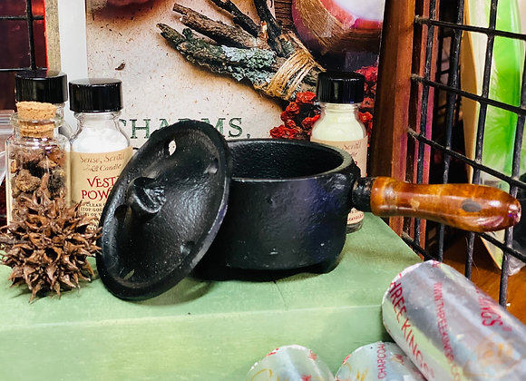 CAST IRON INCENSE BURNER with Wooden Handle and Lid
