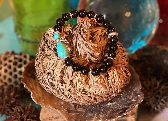 Angel Turquoise w/ Obsidian Bracelet
