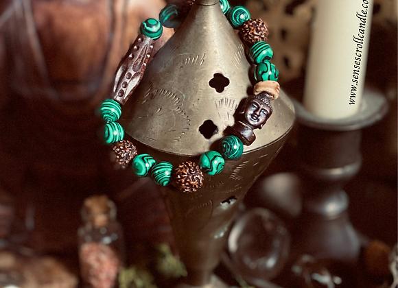 Malachite Buddha Mala Bracelet
