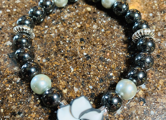 Hemetite with Black & White Flower Bracelet