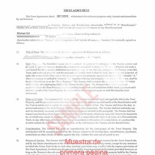 Trust Agreement (Llenable) Incluye Video de Explicacion!