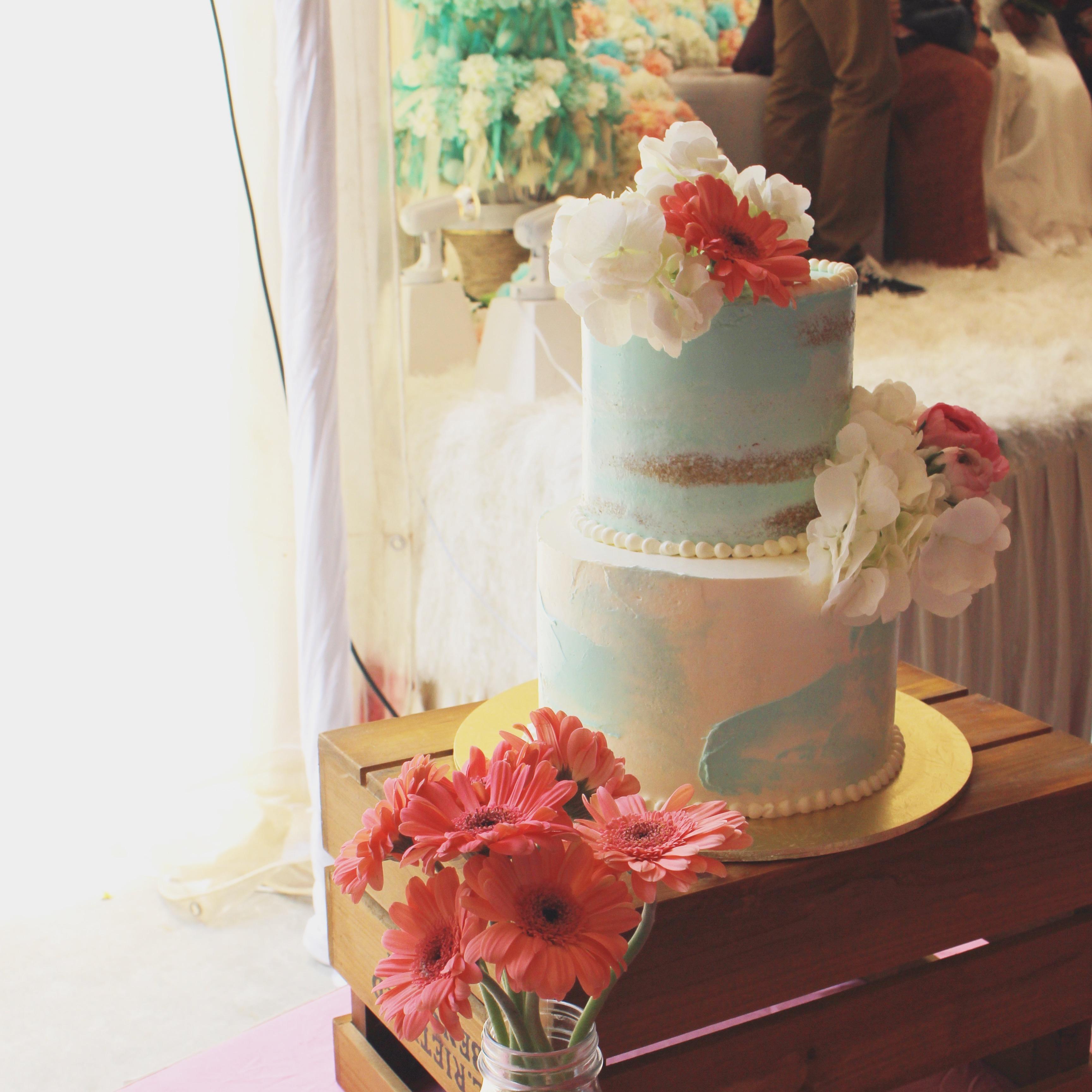 2-Tier Coral Theme Wedding Cake