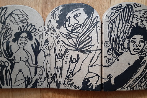 ink drawing on mini triptych