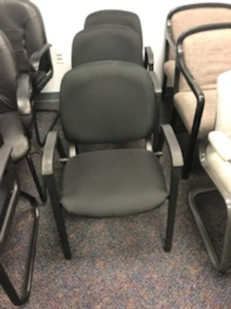 3 Armed Black Guest Chairs