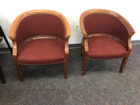 2 Wooden Red Side Chairs