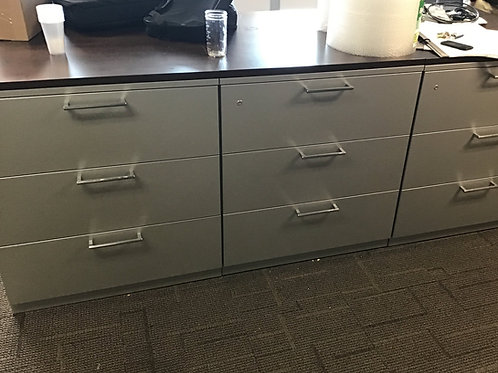 (6) 3 Drawer Lateral Files with 3 Espresso Laminate Tops