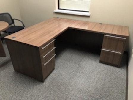 L-Shaped Double Pedestal Desk