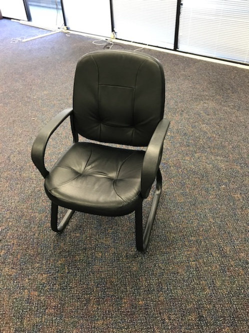7 Black Cushioned Armed Side Chairs