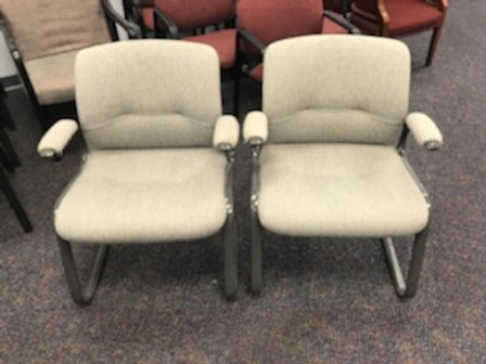2 Grey Armed Cushioned Guest Chairs