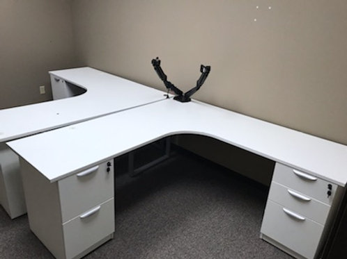 6x6 Double Pedestal Free Standing Desk