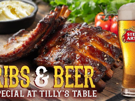 Ribs and Beer Special THIS THURSDAY, FRIDAY & SATURDAY at Tilly's Table in Brewster, NY!