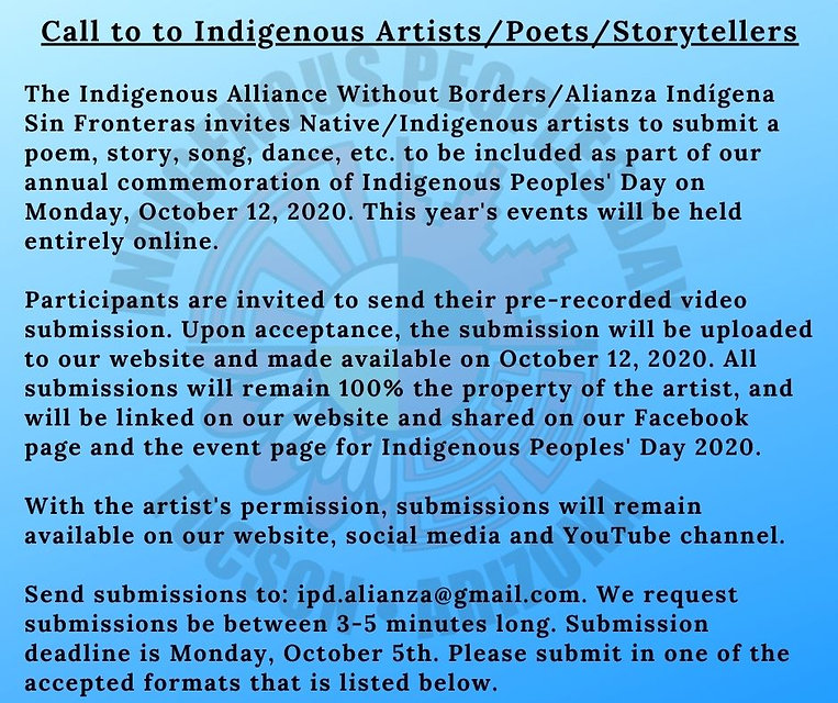Call to Native_Indigenous Artists IPD we