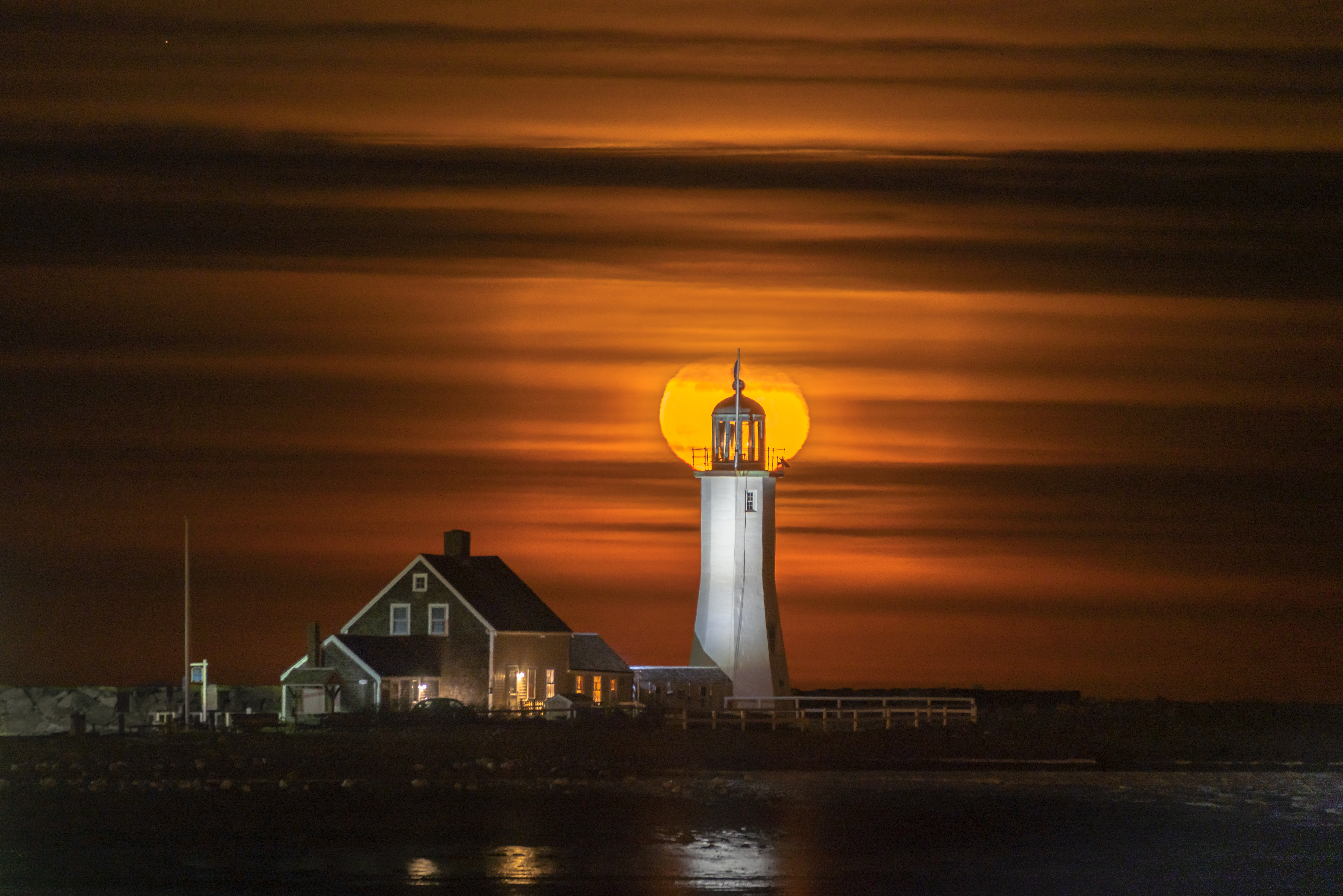 Moon Rise at Scituate Light