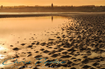 West Sands evening reflection