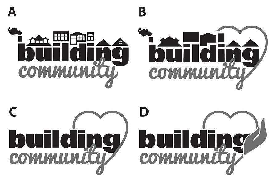 Building Community logo for fundraiser hosted by the Community Action Center in Pullman, Washington, designed by Hannah Kroese, HK Creative, graphic designer in Moscow Idaho