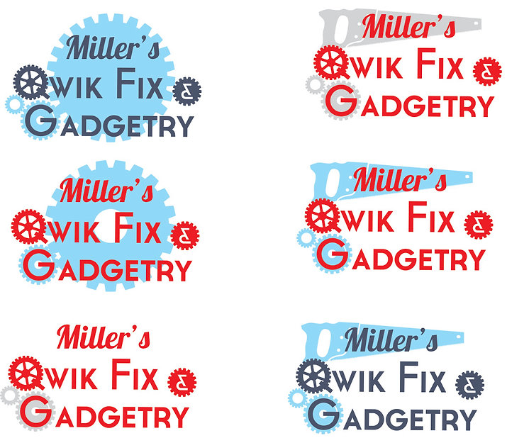 Miller Construction & Gadgetry logo concepts, designed by Hannah Kroese, HK Creative, graphic designer in Moscow Idaho
