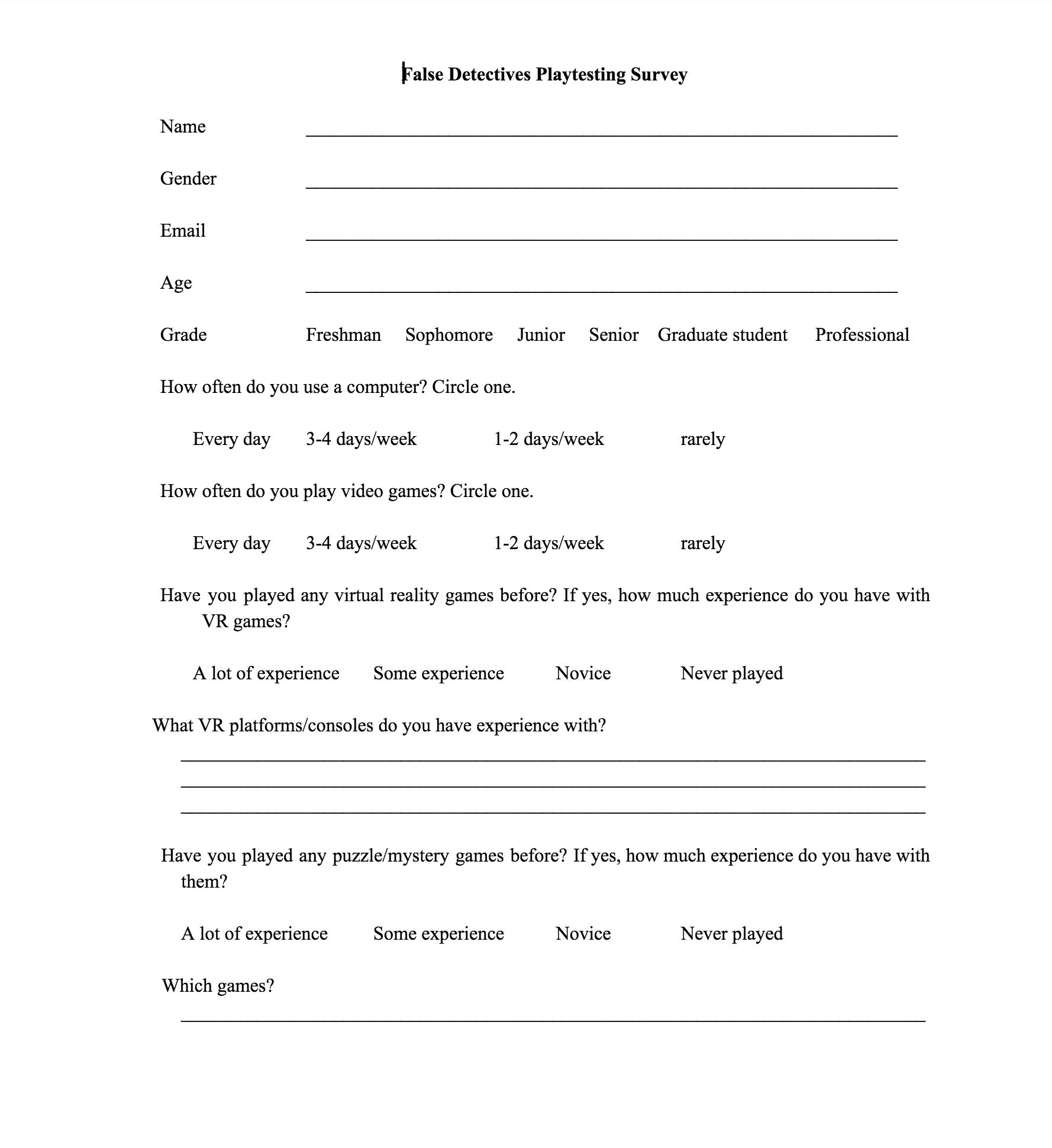 Playtest survey