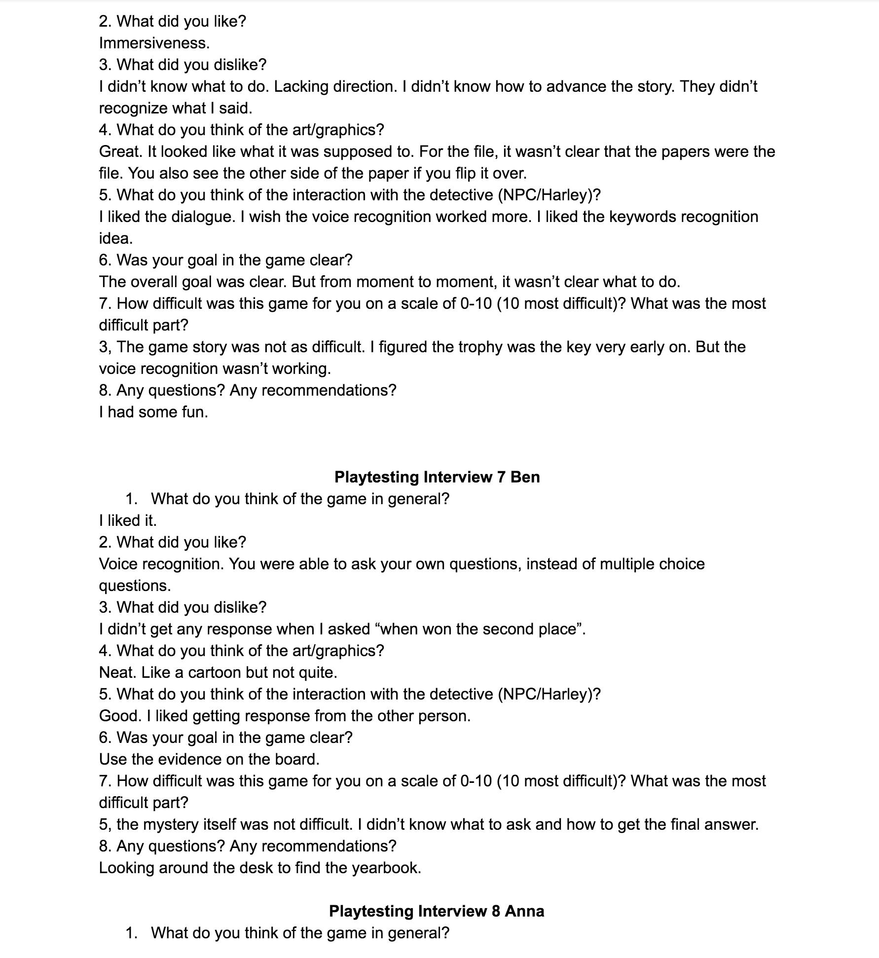 Playtest interview 4