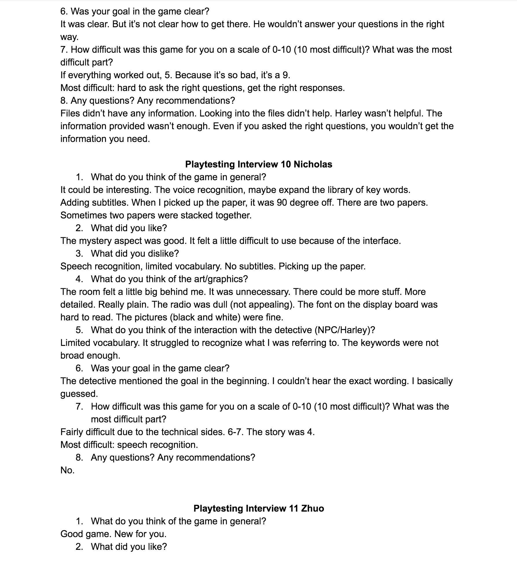 Playtest interview 6