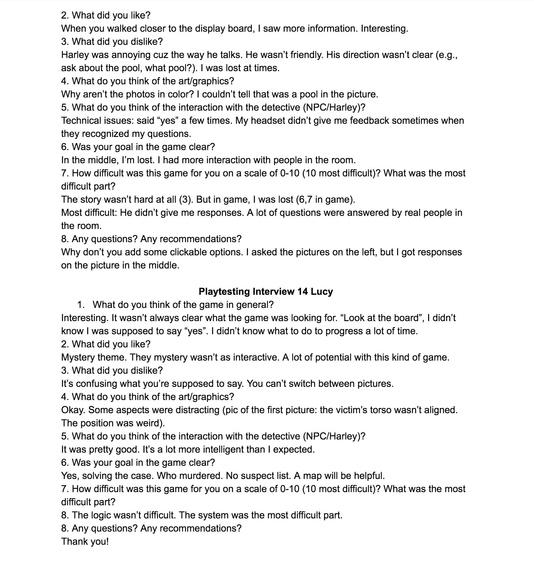 Playtest interview 8