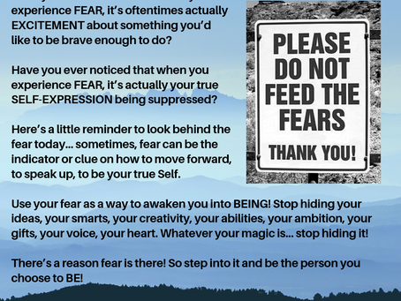 Use your FEAR ...step into it and be the person you choose to BE!