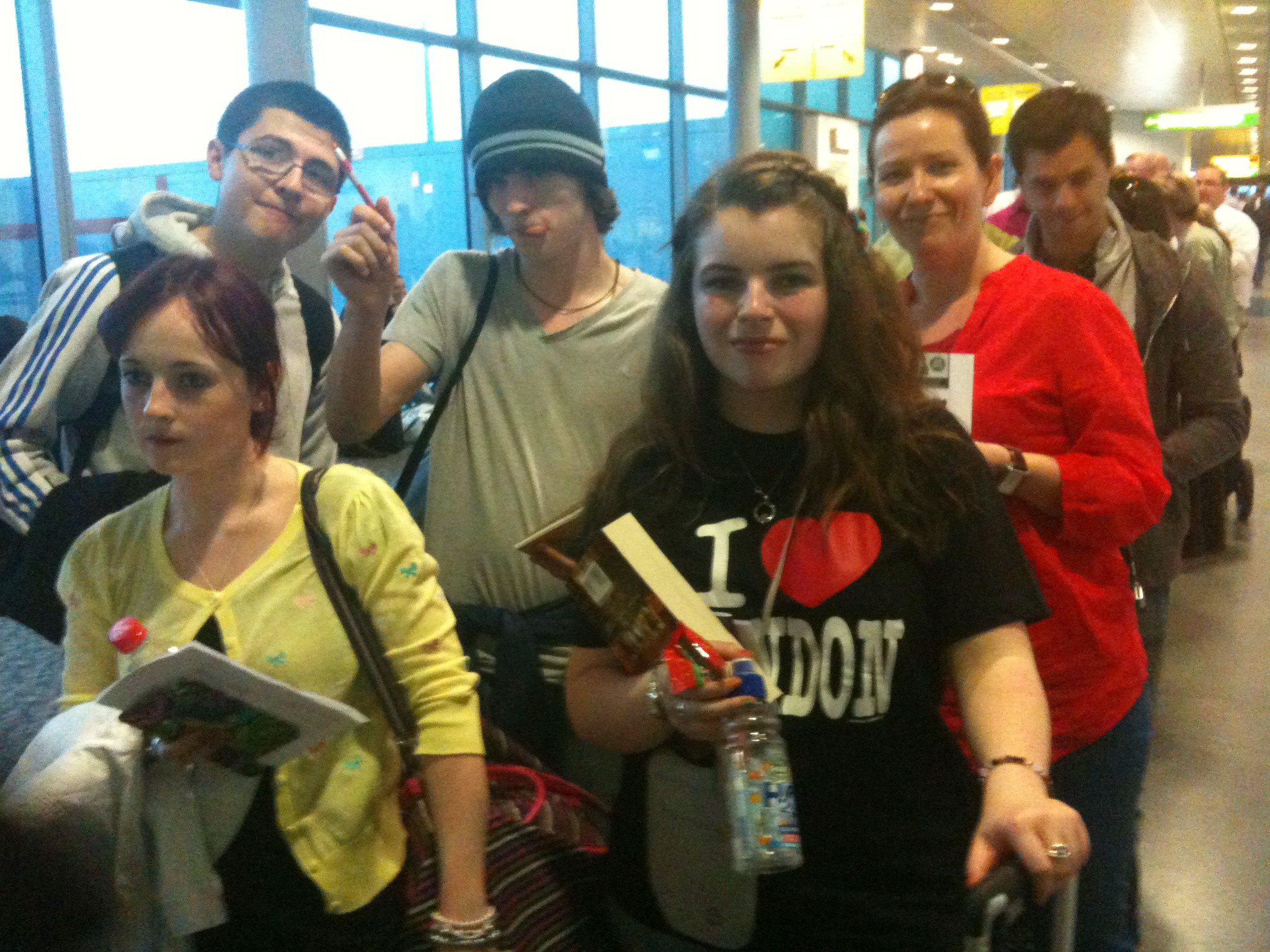 Waiting patiently in the airport London 2011.JPG