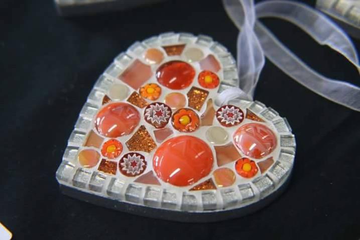 Orange Small Millefiore Heart (close-up) £12