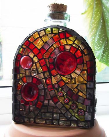 BT1 Red/Yellow Swirls Bottle (FRONT)     £55