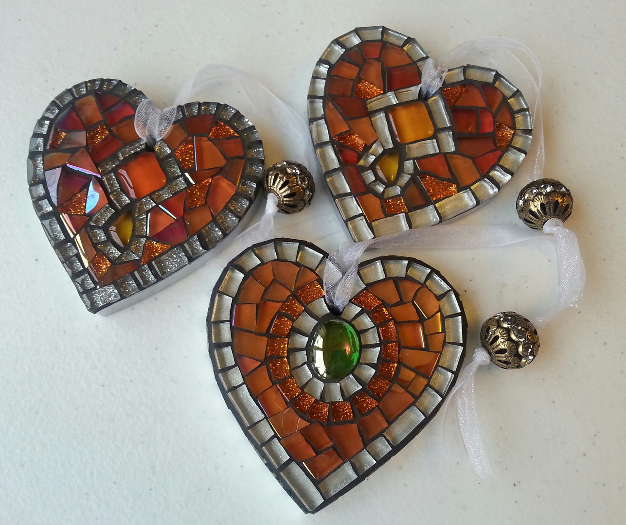 SH6 Small Orange/Silver Hearts  £12 Each