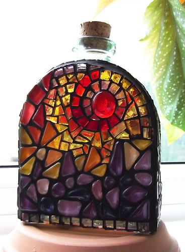 BT1 Red /Yellow Swirls Bottle (BACK)   Approx 16 X 11cm