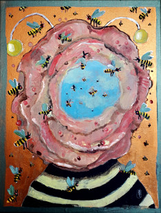 Mimicry II  35x27 acrylique, collage  2020