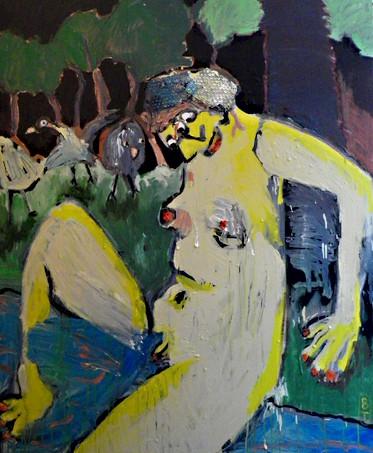 baigneuse jaune 145x120, technique mixte, collage, 2018