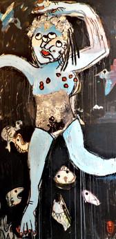 baigneuse bleue 190 x100, technique mixte, collage, 2018