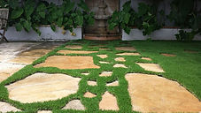 Synthetic Turf between flagstones
