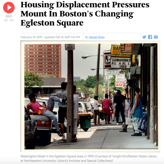 Radio: Housing Displacement Pressures Mount In Boston's Changing Egleston Square