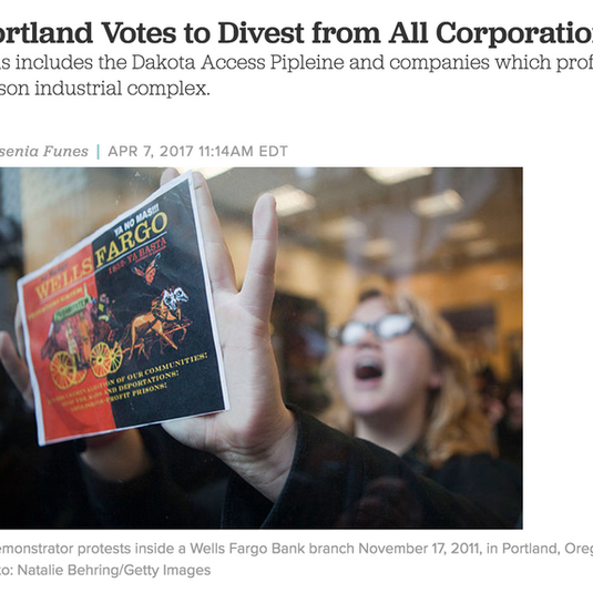 Portland Votes to Divest From All Corpor