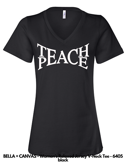 Teach Peace LADIES VNECK Tees