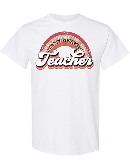 Teacher Leopard Rainbow UNISEX Tees
