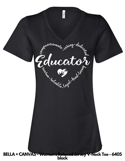 Educator Heart LADIES VNECK Tees