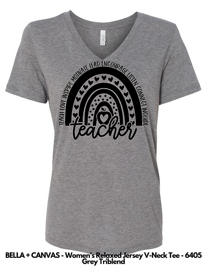 Teacher Rainbow LADIES VNECK Tees